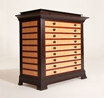 Collectors Cabinet in Rosewood, Sapele and Tiger Maple