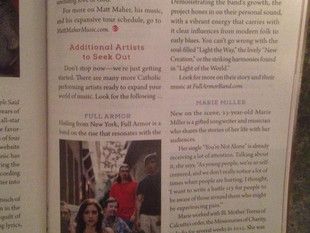 One Voice Media Artist, Full Armor Band featured in Catholic Digest Magazine