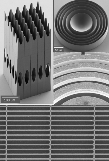 Different nanostructured optics phase corrector, Lenses, Fresnel zone plate and grating