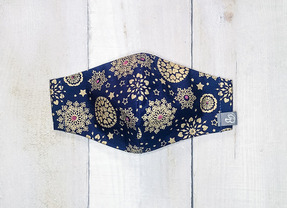 B.i.Mask YOUTH | gold snowflakes navy