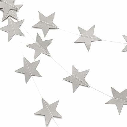 Cordão de estrelas em glitter prateado
