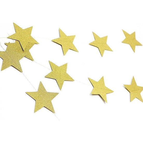 Cordão de estrelas em glitter dourado