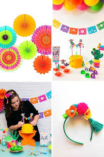 Festa + leques de papel + tiara Mexicana