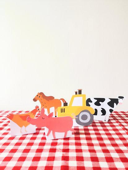 Animais da fazenda de papel