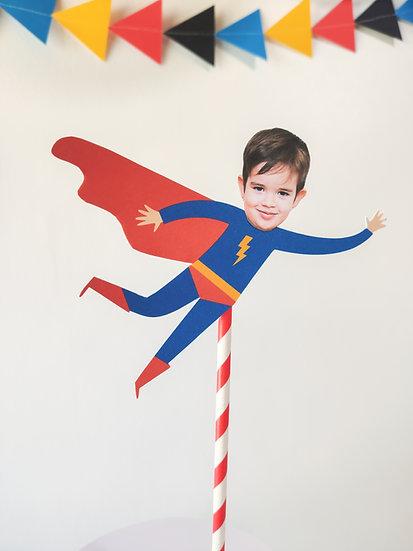 Topo de bolo com foto Super Herói/ Heroína