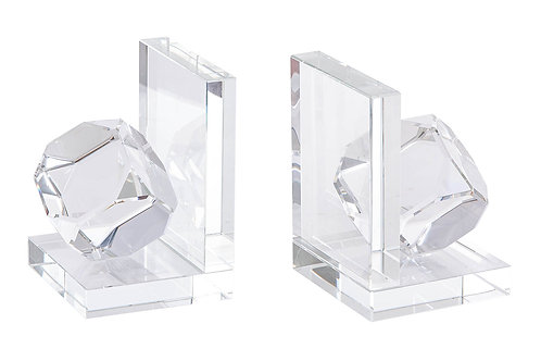 Set of glass book ends