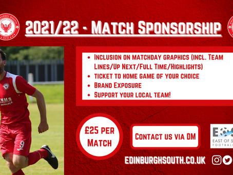 Match Sponsorship available!