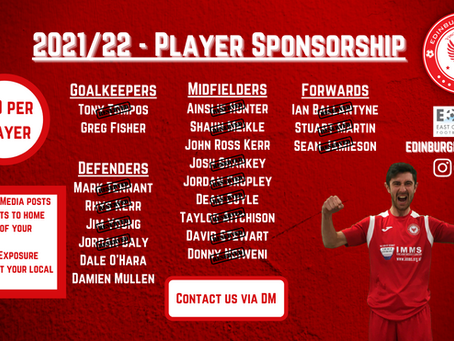 Player Sponsorship Available Now!
