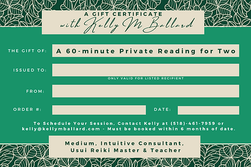Gift Certificate Private Reading for Two - 60 minutes