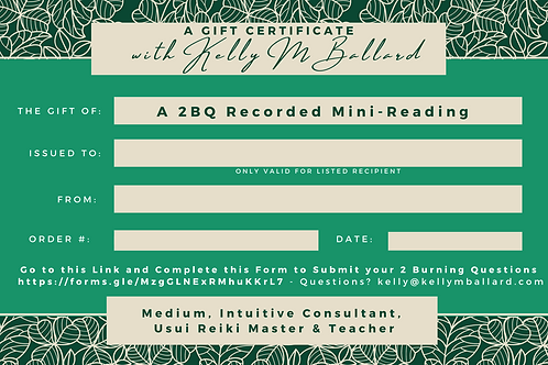 Gift Certificate for a Recorded Mini-Reading