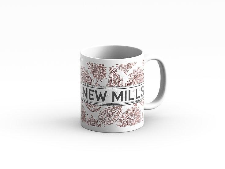 Brown and White Paisley Mug