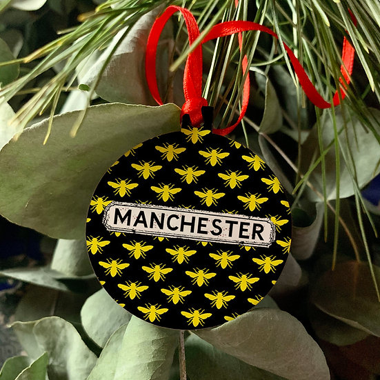 Manchester Bee Bauble Set of 4