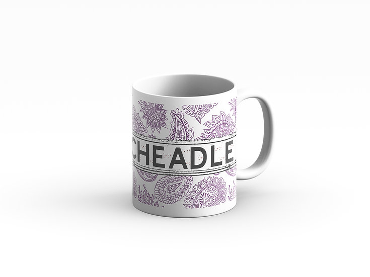 Purple and White Paisley Mug