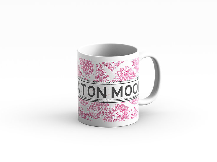 Pink and White Paisley Mug