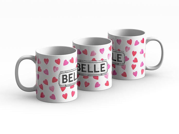 Pink Hearts Area Mug