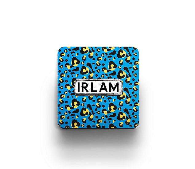 Blue Leopard Print Coasters (set of 4)
