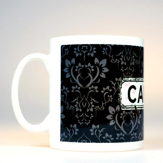 Damask Mug Black Grey