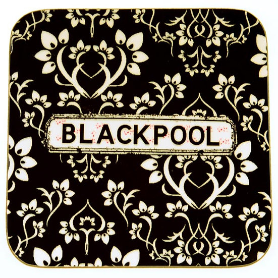 Damask Coasters Black (set of 4)