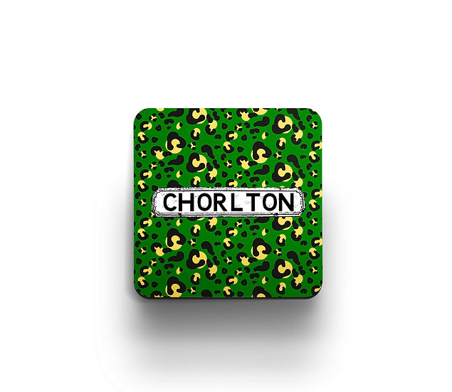 Green Leopard Print Coasters (set of 4)