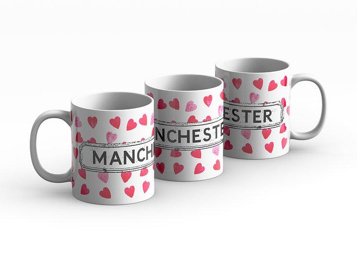 Red Hearts Area Mug