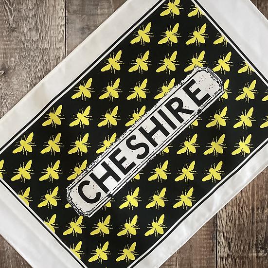 Black and Yellow Bee Print Area Tea Towel