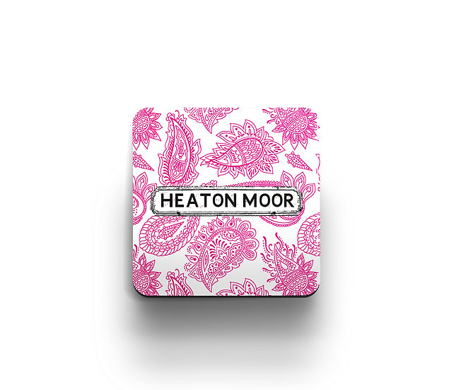 Pink and White Paisley Coaster (set of 4)
