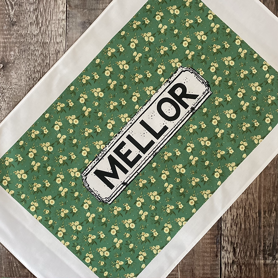 Green and Yellow Floral Area Tea Towel