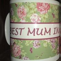 Best Mum Floral Mug Green