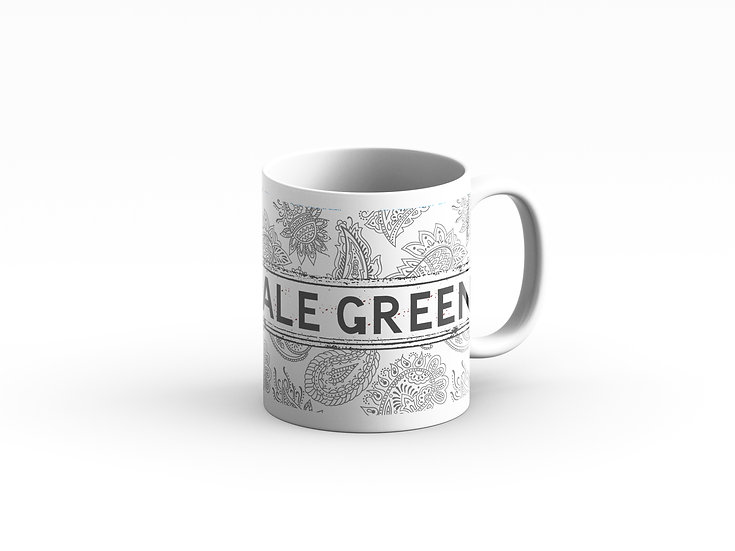 Grey and White Paisley Mug