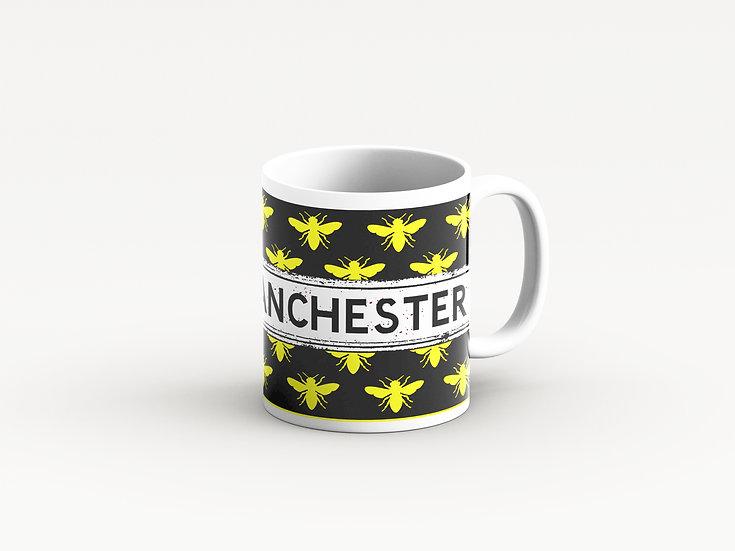 Manchester Bee Mug Black and Yellow