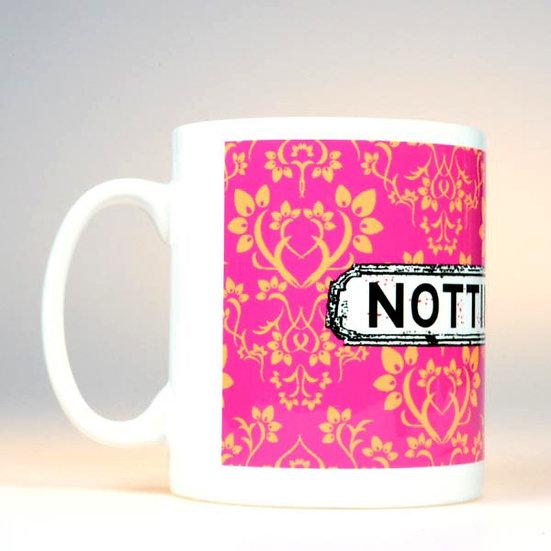 Damask Mug Pink Orange