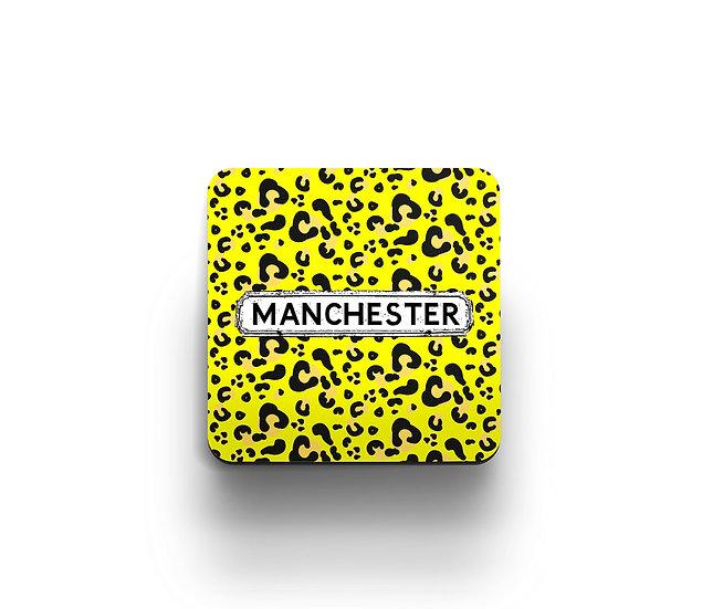 Yellow Leopard Print Coasters (set of 4)