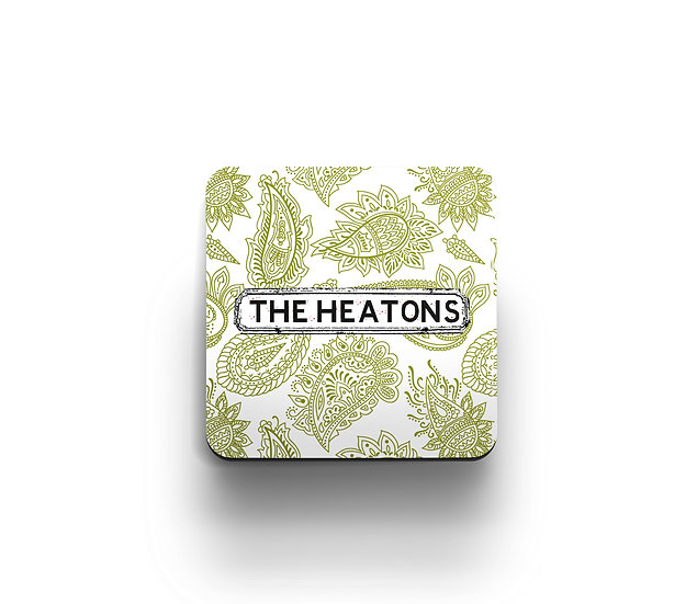 Green and White Paisley Coaster (set of 4)