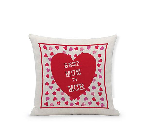 Best Mum in... Red Heart Cushion
