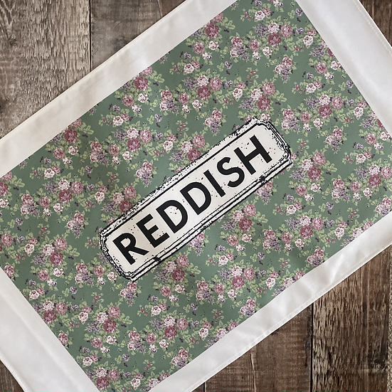 Green and Pink Floral Area Tea Towel