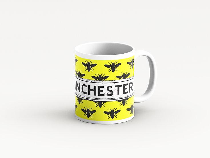 Manchester Bee Mug Yellow and Black