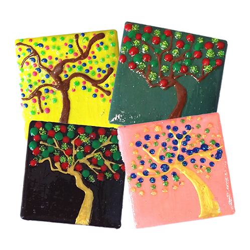 Painted Tile Magnets