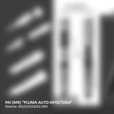 PAI (Pluma auto-inyectora con dosificación micro-controlada de alta precisión para administrar medicamentos liofilizados, con sistema de reconstitución y bloqueo anti-reuso).  [Segundo lugar en la categoría profesional de la 9a Bienal de Diseño. La imagen ha sido desactivada por protección de patente en trámite].