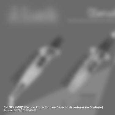J-Lock (Escudo protector automático para desecho de jeringas para prevención de accidentes y riesgo de contagio de enfermedades). [Proyecto participante en la 9a Bienal de Diseño. La imagen ha sido desactivada por protección de patente en trámite].