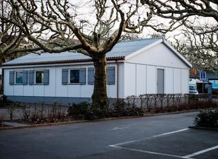 Jugendzentrum Eglisee: Der zweite Pavillon steht nun stolz neben dem Mutterhaus