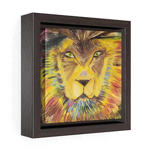 Single Lion-Sima Fisher -Square Framed Premium Gallery Wrap Canvas