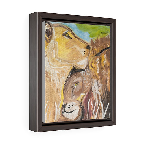Lions In Love #1 Arist Sima Fisher-Vertical Framed Premium Gallery Wrap Canvas
