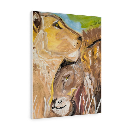 Lions In Love By Sima Fisher -Canvas Gallery Wraps