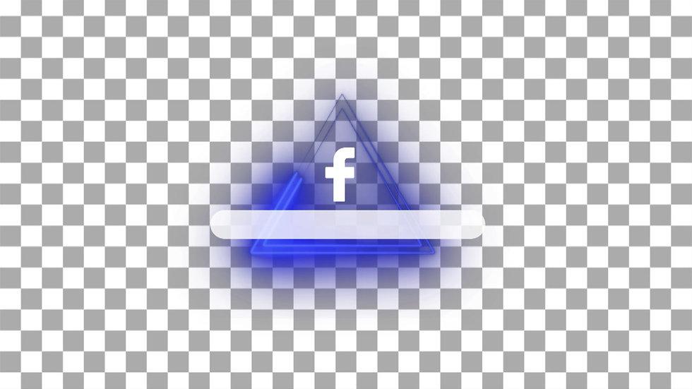 Botón Social Media: Facebook - Neón Triangulo