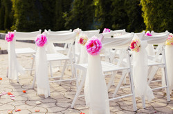 Decorations of wedding chairs, stylish marriage ceremony, bridal day decorations, luxury, soft focus