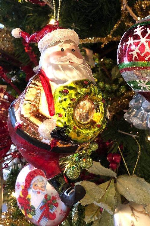 Santa with Wreath Glass Ornament