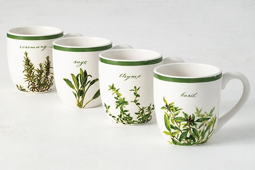 Herb Mugs Set of 4