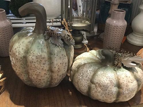 Sage Green Mottled Pumpkin Set of 2
