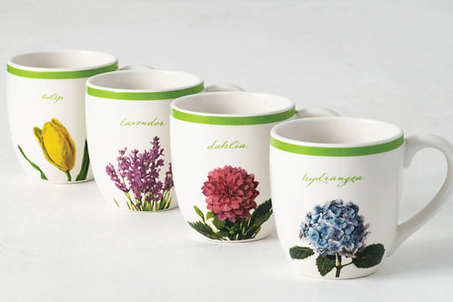 Flower Mugs Set of 4