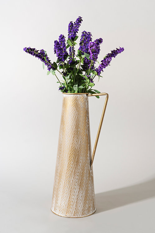Textured Metal Pitcher Vase